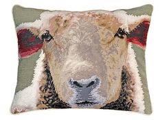 Sheep Face Needlepoint Pillow
