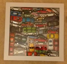 Shadow box with match box cars