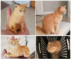MANX Red Tabby CAT FIGURINE kitty HAND PAINTED Statue orange kitten COLLECTIBLE