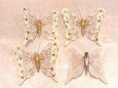 Christbaumschmuck, Schmetterlinge 4 Stück , Creme mit Goldglimmer