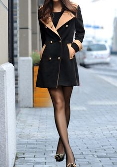 Contrasted Color Coat - Button Closure At Cuffs