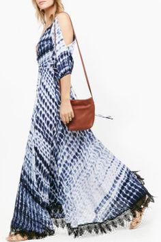 Casual V-Neck 3/4 Split Sleeve Printed Lace Hem Maxi Dress For Women