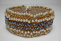 Lacy Loopy Bracelet  Crystals and Pearls  by SturdyGirlDesigns, $100.00
