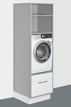 Waschmaschine oder Trockner sind ergonomisch hoch eingebaut und bieten zusätzlich viel Stauraum, zum Beispiel für Waschmittel oder Putzutensilien.