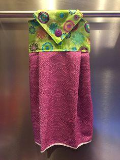 Hanging Kitchen Towel, Hanging Hand Towel, Kitchen Towel, Decorative Kitchen Towel, Decorative, Housewares, Purple, Teal, Pink, Flower Burst by BagsRugsandMore on Etsy