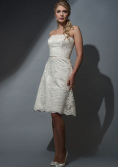Sixties style corded lace knee length bridal dress in vintage ivory. – FairyGothMother
