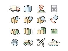 Parcel delivery service icons