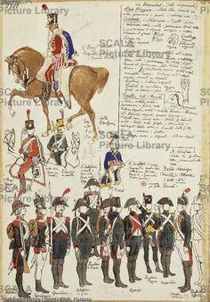 ******** Militaria, Italia XIX secolo. Uniformi militari durante la Repubblica Cisalpina, 1801. Tavola dal Codice Cenni.