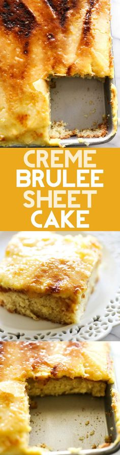 Brûlée Sheet Cake This Creme Brûlée Sheet Cake will be one of the best things you EVER eat! It is…This Creme Brûlée Sheet Cake will be one of the best things you EVER eat! Köstliche Desserts, Delicious Desserts, Dessert Recipes, Health Desserts, Plated Desserts, Cupcakes, Cupcake Cakes, Sheet Cake Recipes, Sheet Cakes