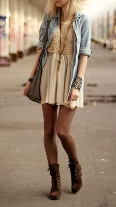 Flowy skirt with a denim top.