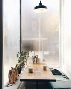 dining nook surrounded by windows