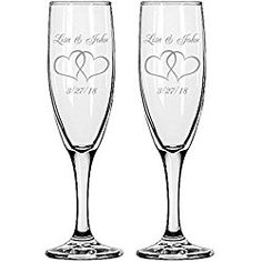 Gifts Infinity 2 Personalized Engraved Wedding Interlock Hearts Champagne Flutes Toasting Gles
