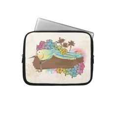 tropical bird with banner laptop computer sleeve