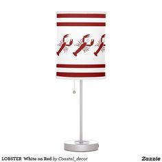 LOBSTER  White on Red Desk Lamp