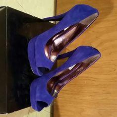 Shoes Peep toe suede blue pumps. Slight Minimal wear marks Steve Madden Shoes