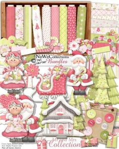 Digital scrapbooking and card making cute Santa Claus and Mrs. Claus kit.  Aren't they adorable together?? FQB - Mr and Mrs Collection