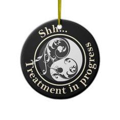 Scrolling Yin Yang Do Not Disturb Ornament