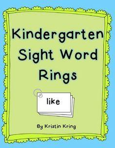 Kindergarten Sight Word Rings FREEBIE!