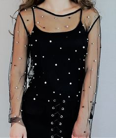 Mesh, beaded top. #mesh #top #fauxpearls #beaded #black #fashion #clothing #clothes #fashioninspiration #fashioninspo All Black Fashion, Pink Fashion, Festival Outfits, Festival Fashion, Beaded Top, Online Fashion Stores, Black Heart, Jacket Dress, Knitwear