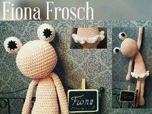 Häkelanleitung großer Frosch Fiona Ballerina Schlenkertier rosa 40 cm