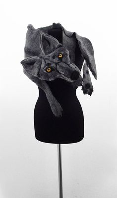 Reserved WOLF SCARF Felted Scarf Animal Scarf Grey by filcant
