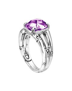 John Hardy Small Bamboo Silver Ring with Octagon Amethyst - Neiman Marcus