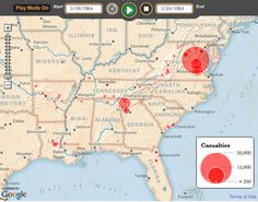 This is an amazing map where you can push the go arrow and see where and how many casualties occurred at what points all through the Civil War.  The page is also linked to three of three other timelines of the Civil War: road to war, the beginning of the war, and Northern resurgence.