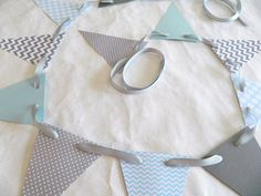 Paper Garland/ Light Blue and Gray Chevron by anyoccasionbanners, $9.75