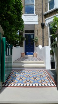 victorian mosaic garden tile path yorkstone steps black heath greenwich london# (16) Front Path, Front Door Steps, Front Walkway, Porch Steps, Victorian Front Garden, Victorian Hallway, Victorian Front Doors, Victorian Homes, Garden Tiles