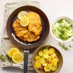 Șnițel de porc cu salată de cartofi și castraveți Curry, Ethnic Recipes, Pork, Cucumber Salad, Food Food, Curries