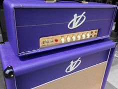 Straight From The Custom Shop! Voodoo Amps V-Plex 50 with Master Volume & matching Speaker Cab loaded with Celestion Heritage Series Speakers! Sound Clips, Bass Amps, Marshall Speaker, Guitar Amp, Cool Tones, Voodoo, Speakers, Purple, Music