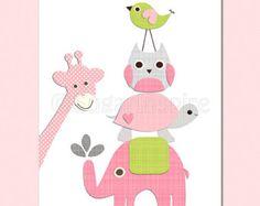 Pink and grey Nursery Art love tree nursery room by SugarInspire