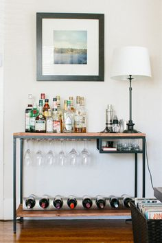 39 ideas for apartment diy bar ikea hacks Interior, Diy Bar, Ikea Bar, Home Decor, Bars For Home, Ikea Bar Cart, Mini Bar, Pottery Barn Style, Ikea Vittsjo