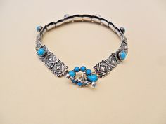 Six Stone Turquoise Concho Bracelet By E Wentling.