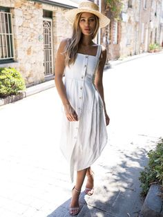 Summer Dresses 2018 Straps Solid Color Button Down Maxi Dress Boho Outfits 353d02a1aa5e