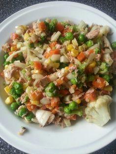 Lehci a hlavne rychly obed. Zeleninova smes s brokolici, tunak a cibule. Zeleninu hodime na panev s trochou oliv. oleje a prikryjeme poklickou; mezitim si oleupeme a nasekame cibuli a otevteme tunaka. Po rozmrazeni zeleniny vse smichame a dochutime oblibenym korenim :)) Misto tunaka se daji pouzit kureci prsa. Smes s kukurici neni uplne vhodnou volbou, protoze u krevni skupiny 0 zpomaluje metabolismus a diky obsahu skrobu take traveni masa.