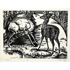 Woodcut by Adolf Weber-Scheld (German, 1892-1961), 'Rehe (Deer)', 1921, 18.2 x 24.3 cm. • #woodcut #adolfweberscheld #holzschnitt