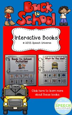 Back to School Interactive Books!  A fun way for students to interact with back to school vocabulary. www.teacherspayteachers.com/Product/Back-to-School-Interactive-Books-1988622
