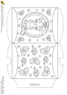 Coloriage d'une pochette de Noël, renne et décorations