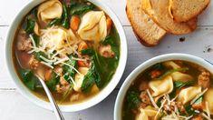 Italian Sausage and Tortellini Soup Recipe - BettyCrocker.com Best Soup Recipes, Dinner Recipes, Healthy Recipes, Copycat Recipes, Healthy Meals, Dinner Ideas, Easy Meals, Favorite Recipes, Italian Sausage Tortellini Soup