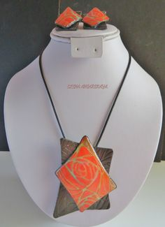 rose Garden Satin Polymer Clay Necklace and Earrings Set, Polymer Clay Jewelry, One of a kind jewelry, Statement necklace, Waterproof