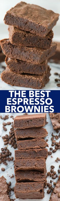 The best brownies with real espresso grounds! Fudgy and dense, adaptable recipe for a small or large pan! Chocolate Chunk Brownies, Espresso Brownies, Brownie Bar, Chocolate Desserts, Best Dessert Recipes, Sweet Desserts, Coffee Recipes, Easy Desserts, Delicious Desserts