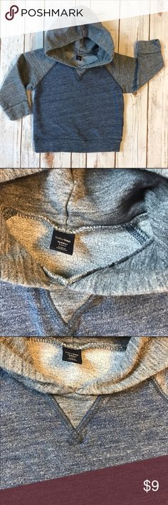 Baby Gap Raglan-style Hoodie. Heather blue. Baby Gap Raglan-style Hoodie. Heather blue.  Slight bit of wash wear but still in great used condition. GAP Shirts & Tops Sweatshirts & Hoodies