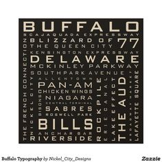 Buffalo Typography Wood Wall Art