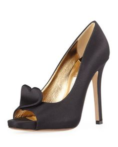 collana satin heart pump, black by kate spade new york at Neiman Marcus.  LOVE THESE!!! Maybe for bachelorette party and rehearsal dinner!!!
