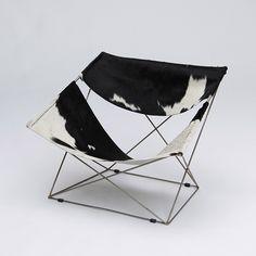 PIERRE PAULIN FOR ARTIFORT F675 BUTTERFLY CHAIR Pierre Paulin butterfly chair with cow skin. Timeless design...