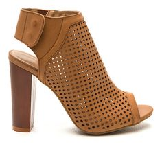 Pleased As Punch Perforated Booties TAN ($22) ❤ liked on Polyvore featuring shoes, boots, ankle booties, tan, faux leather booties, perforated booties, vegan boots, faux-fur boots and faux-leather boots