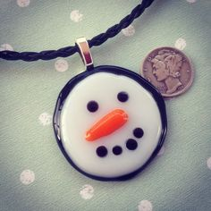 Snow Buddy - fused glass pendant - http://www.etsy.com/shop/leisaworks - $25