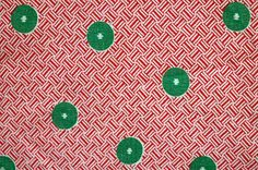 1930s 40s Green Buttons on Red Basketweave by HeritageFabrics, $18.00