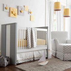Chevron Crib @ BrightNest Blog. I love the modern baby room / nursery. Grey yellow and white. Fav!!